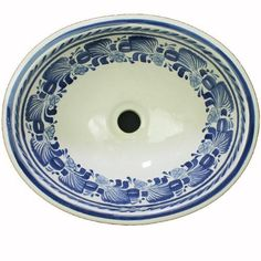 Explosion Azul is a gorgeous ceramic sink hand painted by Gorky Gonzalez and translates as Blue Explosion and matches a Gorky decorative border tile that would