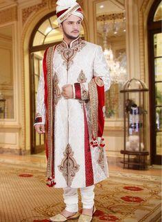 Plushy Red & White Readymade Wedding Sherwani