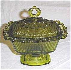 Green Indiana Glass Lace Edge Candy Dish (Image1)