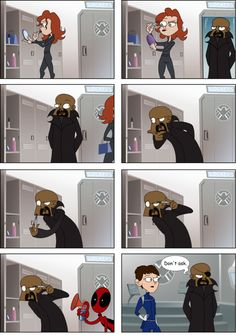 How Nick Fury Got His Eyepatch. I love it! It's so logical!;) Deadpool seems to be everywhere!