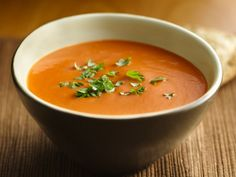 Creamy tomato basil soup. -Can't wait to try with my black krim heirloom tomatoes!
