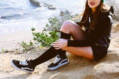 California Daze shot by Cathy Rong. Vans Old Skools and leather. Women's street style, fashion