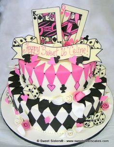 Looks like a royal flush! #desserts #cakes #birthdaycake #poker #diamonds #hearts #clubs #spades #pink #prettyinpink #SweetSisters