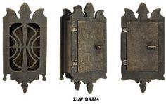 Vintage Hardware & Lighting - Small Art Nouveau Door Grille Or Speakeasy or Peephole Set (ZLW-DK334)