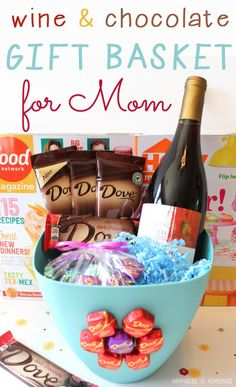 Easy Wine and Chocolate Gift Basket for Mom! Last Minute Mother's Day Gift Basket by DIY Ready at  http://diyready.com/diy-gifts-mothers-day-ideas/