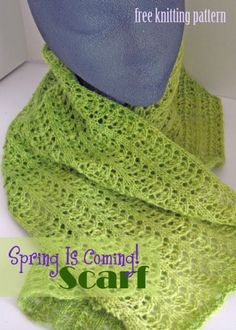 Free Knitting Pattern - Spring Lace Scarf I Brenda Dodd am not a knitter but I like to use the knook so will try this as knooking. Lace Knitting, Knitting Patterns Free, Knit Patterns, Free Pattern, Knitting Tutorials, Finger Knitting, Knitting Ideas, Stitch Patterns, Crochet Scarves
