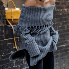 Sexy Off Shoulder Lapel Tassels Slitting Knit Sweater