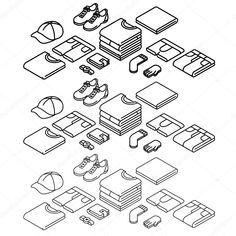 Illustration about Isometric outline icons set, clothes. Thin line icons. Illustration of clothing, underwear, gloves - 68877257 Isometric Drawing, Isometric Design, Vector Design, Logo Design, Impression Textile, Doodle Icon, Line Illustration, Illustrations, Mascot Design