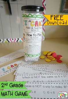 """This """"I CAN"""" Math game covers all standards for ADDING & SUBTRACTING within 20 in 2nd grade. Perfect for Guided Math & Test Prep! {Common Core} FREE"""