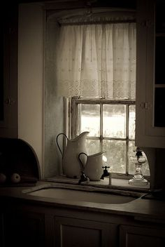 The calmness of a Country kitchen window view
