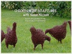 hen-sculptures-for-the-garden-using-chicken-wire - I've been to a couple of . hen-sculptures-f Chicken Wire Art, Chicken Wire Sculpture, Chicken Wire Crafts, Outdoor Sculpture, Sculpture Art, Wire Sculptures, Garden Sculptures, Sculpture Ideas, Metal Garden Art