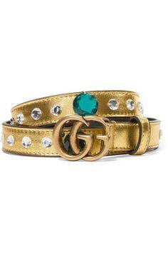 Gucci - Crystal-embellished Metallic Leather Belt - Gold -