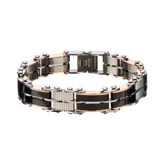 Men's Two-Sided Adjustable Bracelet in Stainless Steel and Two-Tone IP - Bracelets For Men, Link Bracelets, Fashion Bracelets, Mens Diamond Bracelet, Wholesale Body Jewelry, Jewelry Clasps, Fantasy Jewelry, Adjustable Bracelet, Bracelet Designs
