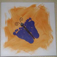Footprint butterfly. fun outside crafts!