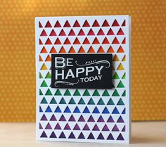 Hero Arts~Triangle Background die by L. Bassen - 3 layers of die cut, colored with markers underneath Card Making Tutorials, Making Ideas, Hero Arts Cards, Triangle Background, Rainbow Card, Masculine Birthday Cards, Card Making Inspiration, Card Maker, Scrapbook Cards