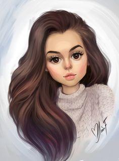 Cute Cartoon Pictures, Cute Cartoon Girl, Cute Love Cartoons, Cartoon Art, Girl Drawing Sketches, Cute Girl Drawing, Girly Drawings, Sarra Art, Girl Cartoon Characters