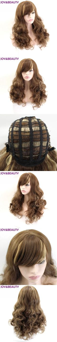JOY&BEAUTY Inclined Bang Long Wavy Wig High Temperature Fiber Brown Golden Mix Color Synthetic Hiar 24inches Women Wigs