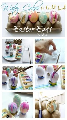 Create gorgeous Water Color and Gold Leaf Easter Eggs with simple step by step instructions!