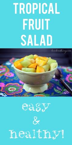 Tropical fruit salad - amazing and healthy too. Got to try next time there's some fruit lying around! Primal Recipes, Real Food Recipes, Healthy Recipes, Free Recipes, Tropical Fruit Salad, Fruit Salads, Paleo Meal Plan, Summer Fruit, Healthy Treats