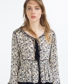 Image 2 of FLOWING PRINTED BLOUSE from Zara