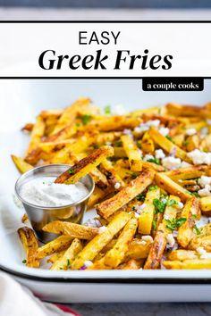 Mediterranean Potato Recipe, Mediterranean Diet Recipes, Mediterranean Style, Vegetarian Side Dishes, Healthy Side Dishes, Side Dish Recipes, Vegetarian Recipes, Veggie Dishes, Homemade Fries