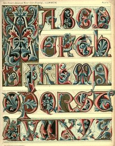 Medieval Manuscripts Illuminated Letters | Complete Alphabets Design | Types of Ty·pog·ra·phy