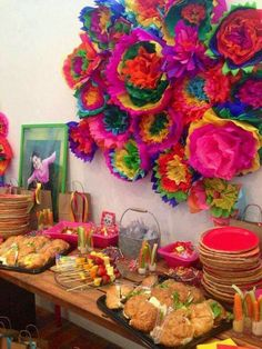 Cinco De Mayo Discover Chic Mexican First Birthday Fiesta - Pretty My Party Bridal shower inspo. No day of the dead stuff though. Mexican Birthday Parties, Mexican Fiesta Party, Fiesta Theme Party, Festa Party, Mexican Bridal Showers, Day Of The Dead Party, Fiesta Decorations, Flower Decorations, Halloween Party