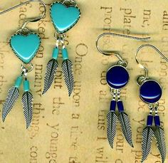 Southwest Lapis Turquoise Heart Feather Earrings Sterling Silver 2 Pair Tucson | eBay