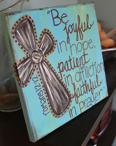 Custom Cross Scripture Romans 12:2 Painting Turquoise Brown Baptism Gift. $38.00, via Etsy.