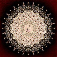 Allah Calligraphy Surrounded by 99 Names Hat: Hüseyin Türkmen Tezhib: Emel Türkmen...