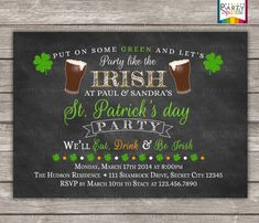 Chalkboard St. Patricks day Party Invitation - Eat Drink and Be Irish - Personalized Digital Custom Invite 4x6 or 5x7 jpg or pdf