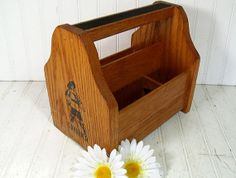 Retro Wooden Shoe Shine Kit Case - Vintage Cavalier Black Enamel Muskateer Logo Carrier - Artisan Crafter Tool & Supply Segmented Wood Box