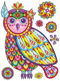 Boho Owl By Thaneeya McArdle Abstract Coloring PagesColoring