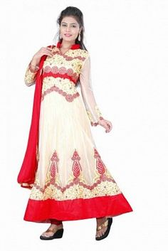 Stunning Cream & Red Net Semi-stitched Salwar Suit@ Rs.1762.00