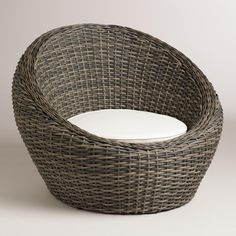 With a comfortable cushion, our round chair is a unique seating solution for your outdoor haven. It& crafted of resin wicker, which has the rustic look of natural wicker but is made to withstand the elements. Resin Patio Furniture, Outdoor Furniture Plans, Rattan Garden Furniture, Rustic Furniture, Antique Furniture, Modern Furniture, Industrial Furniture, Furniture Chairs, Pallet Furniture