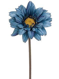 "Gerbera Daisy Silk Flower in Teal Blue 24"" Tall"