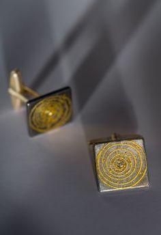 24K yellow gold, oxidized sterling silver and diamond cufflinks by German designers Atelier Zobel #igorman #atelierzobel