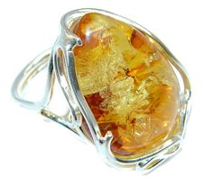 $65.95 Huge+Genuine++Baltic+Polish+Amber++Sterling+Silver+handmade+Ring+size+adjustable at www.SilverRushStyle.com #ring #handmade #jewelry #silver #amber