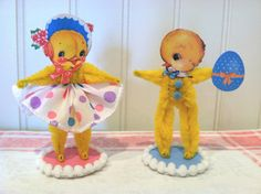 Vintage Style Bump Chenille Easter Chicks by artzeeshell on Etsy
