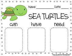 A Cupcake for the Teacher: Under the Sea {Craftivities & Printables} and a Freebie! Summer School, School Fun, School Stuff, Turtle Facts, Ocean Activities, Teaching Activities, Ocean Unit, Kindergarten Rocks, Under The Sea Theme