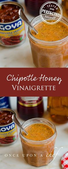 Chipotle Mexican Grill's Chipotle Honey Vinaigrette 6 tablespoons red wine vinegar cup honey cup vegetable oil teaspoon dried oregano teaspoons salt teaspoon ground black pepper 2 chipotle peppers in adobo sauce 2 small garlic cloves, roughly chopped Chipotle Mexican Grill, Vinaigrette Dressing, Salad Dressing Recipes, Chipotle Dressing, Mexican Salad Dressings, Red Wine Vinaigrette, Mexican Food Recipes, Food Processor Recipes, Cooking Recipes