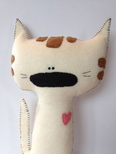 Made to Order - Plush Handmade Eco Friendly Toy - Valentine's Day - Nursery Decor - Baby Shower Gift - Sweetheart the Kitty