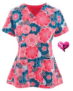 Med Couture MC² Scrubs Floral Getaway Print Top Style # MC8479FG…