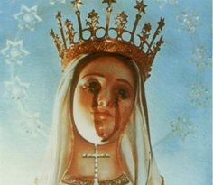 Catholic Mary. Tears of blood.
