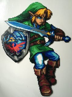 Giant Perler of Link from The Legend of Zelda by AlientonxPerlers