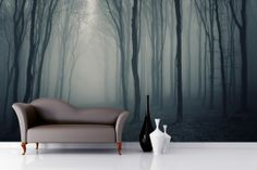 Grey Mist Forest Wallpaper Wall Mural | MuralsWallpaper.co.uk