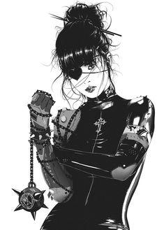 Female Character Design, Character Art, Manga Girl, Art Sketches, Art Drawings, Gothic Anime, Samurai Art, Cyberpunk Art, Fanarts Anime