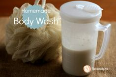 1/2 cup coconut milk 2/3 cup Dr. Bronner's Lavender Castile Soap (you can use a different scent, I just prefer the lavender) 3 tsp. Vitamin E Oil 5 drops of Essential Oil (I use lavender) 2 tsp. Vegetable Glycerin (this is the secret to suds)