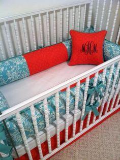 Turquoise toile and coral custom made nursery crib bedding  https://www.facebook.com/poshpetitesboutique  #poshpetitesboutique