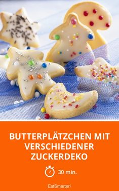 Butter cookies with various sugar decorations - Butter cookies with various sugar decorations – smarter – time: 30 min. Quick And Easy Appetizers, Easy Appetizer Recipes, Yummy Appetizers, Appetizers For Party, Best Christmas Appetizers, Enchilada Ingredients, Biscuits, Seafood Appetizers, Cheese Ball Recipes